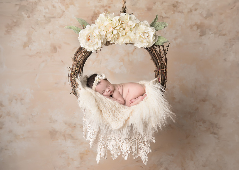 Vancouver_WA_Newborn_Photographer_Newborn_In_Cream_Floral_Swing