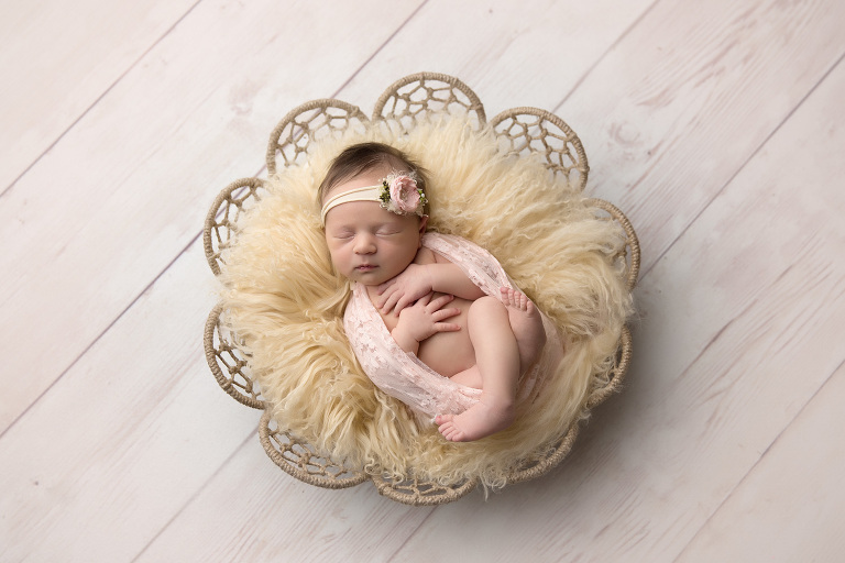 Temecula newborn photographer gretchen barros photography girl in dreamweave basket